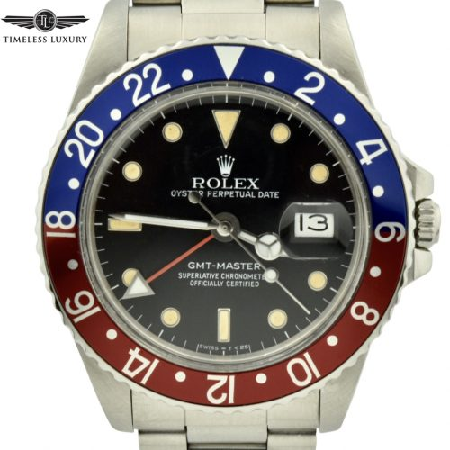 1987 Rolex Gmt-master 16750 pepsi bezel watch