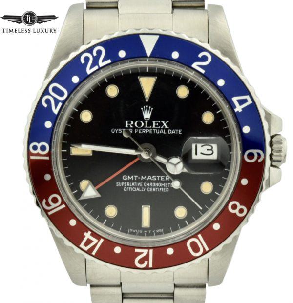 1987 Rolex Gmt-master 16750 pepsi bezel watch