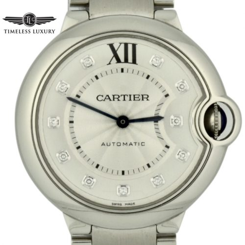 ladies cartier ballon bleu diamond dial watch