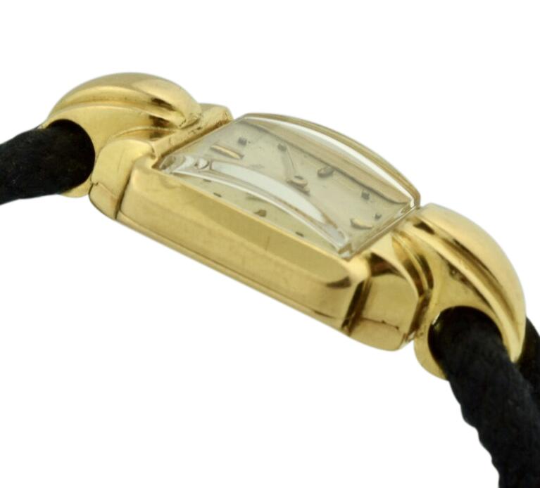 Vintage Ladies Rolex 4211 Precision Cocktail Watch 18k Gold Silver Dial