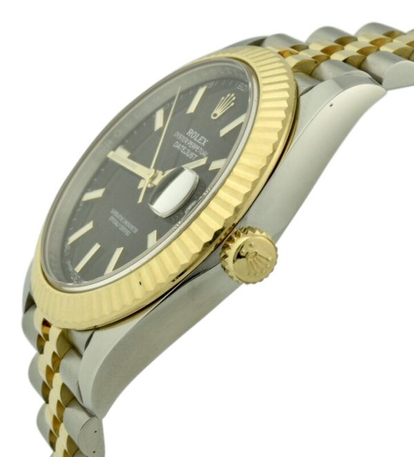 rolex datejust 41mm steel and gold black dial