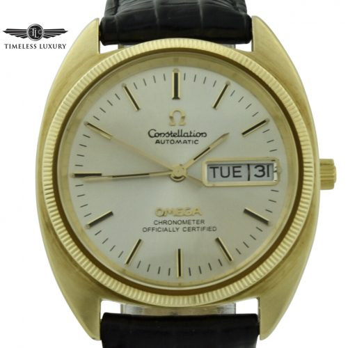 omega constellation day date gold shell