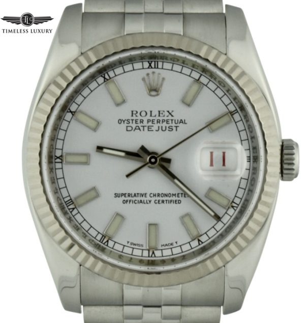 2007 rolex datejust 116200 white dial