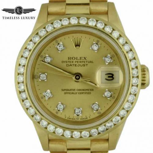 1989 ladies rolex president diamond bezel watch