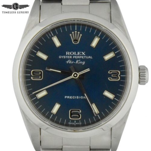 1999 rolex air king 14000 blue dial