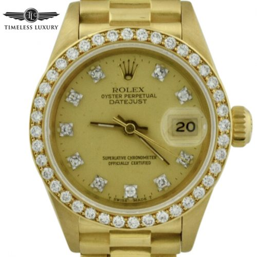 1994 ladies rolex president 69178 diamond bezel