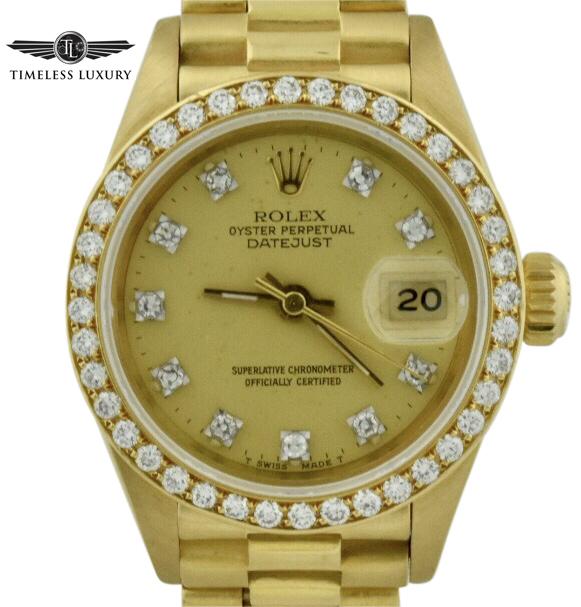1994 ladies rolex president 69178 diamond bezel