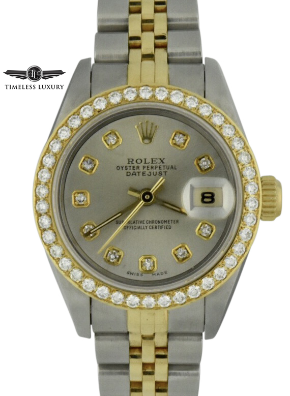 1995 ladies rolex datejust 69173 factory diamond bezel