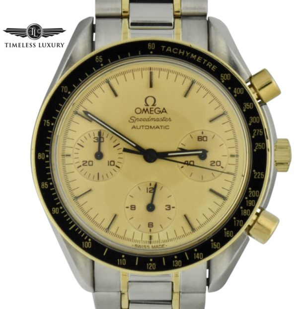 omega speedmaster steel & gold two tone