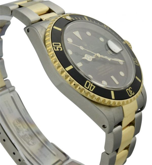 mens rolex submariner two tone black dial