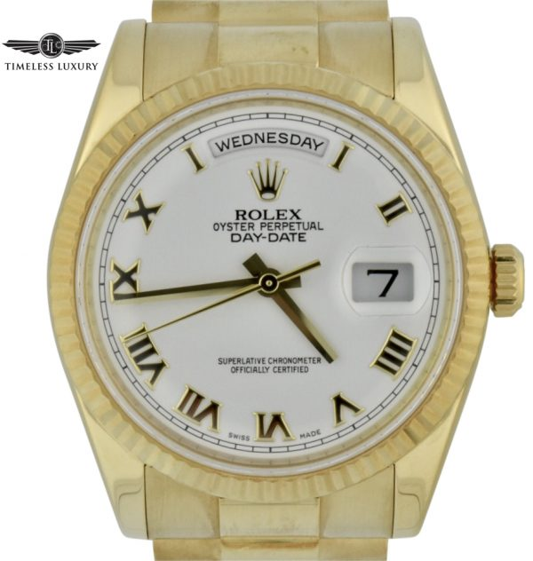 2007 Rolex Day date president 36mm 118238 white roman dial