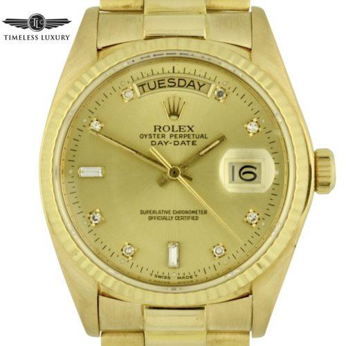 1980 Rolex President 18038 diamond dial