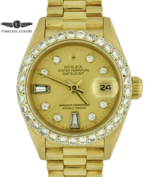 1989 Rolex President 69178 Diamond Bezel watch