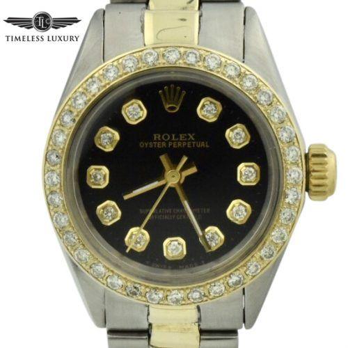 Vintage Rolex 6804 Steel & 14k gold diamond bezel