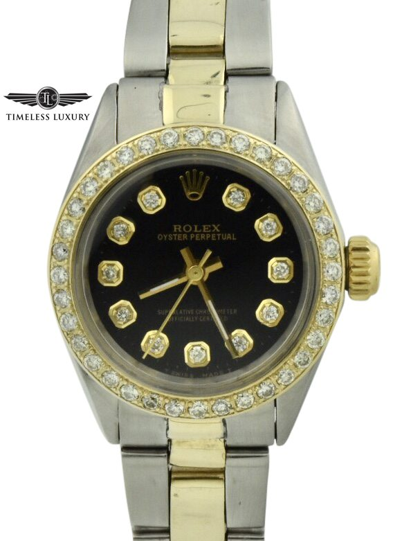 Vintage Rolex 6804 Steel & 14k gold diamond bezel