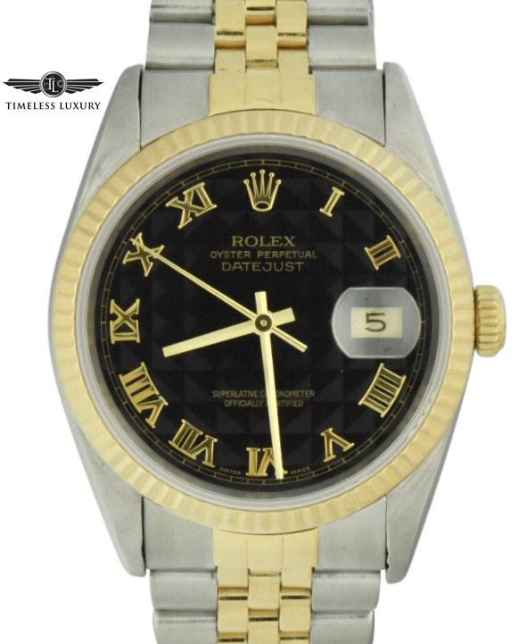 Rolex datejust 16233 black pyramid dial