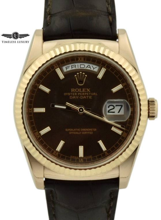 rolex president 36mm 118135 chocolate dial