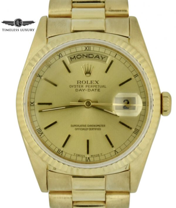 Rolex 18238 president 36mm 18k gold