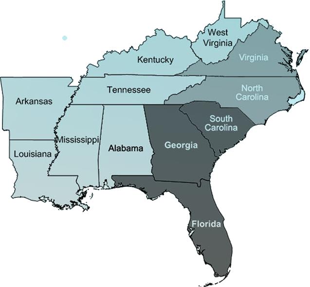 southeast mapcorrect - Southeast Region Map