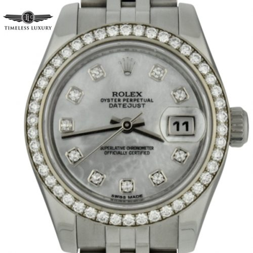 Ladies rolex datejust 26mm 179384 mother of pearl diamond watch