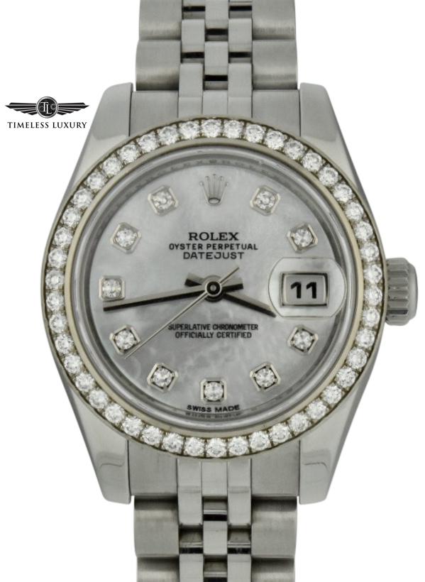 Ladies rolex datejust 26mm 179384 mother of pearl diamond watch