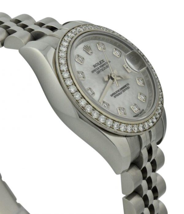 2009 rolex datejust 179384 diamond bezel