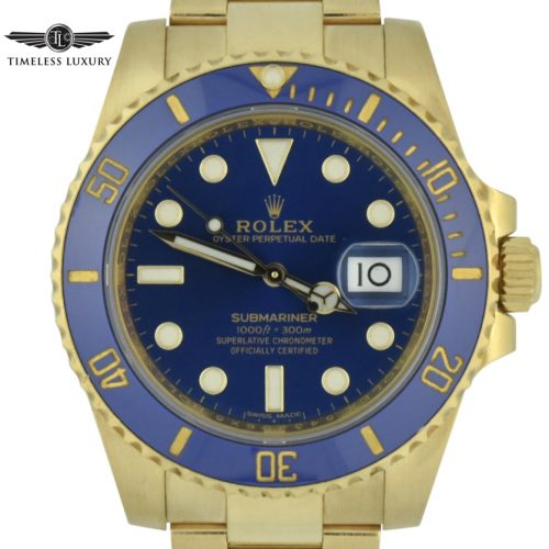 Rolex submariner 116618 18k yellow gold blue dial