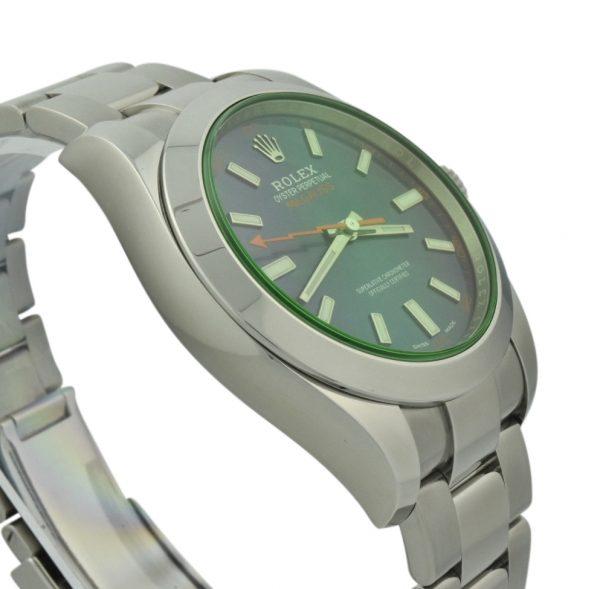 rolex mil gauss green crystal