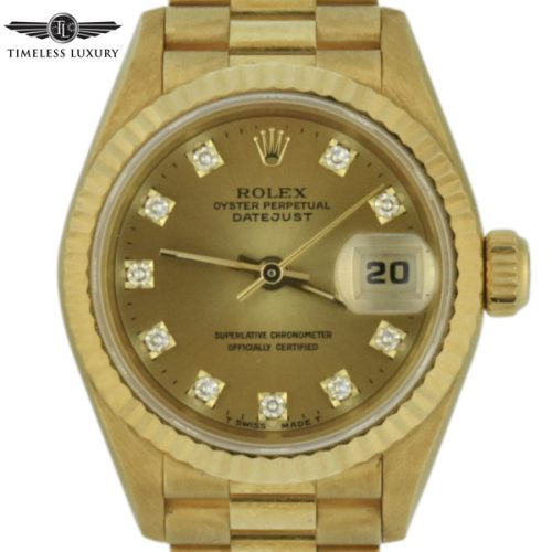 1993 ladies rolex president 69178 diamond dial