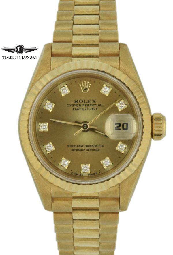 1993 ladies rolex president 69178 diamond dial