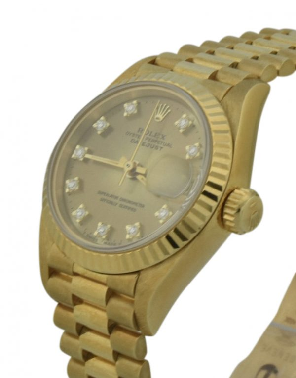 ladies rolex 69178 champagne diamond dial