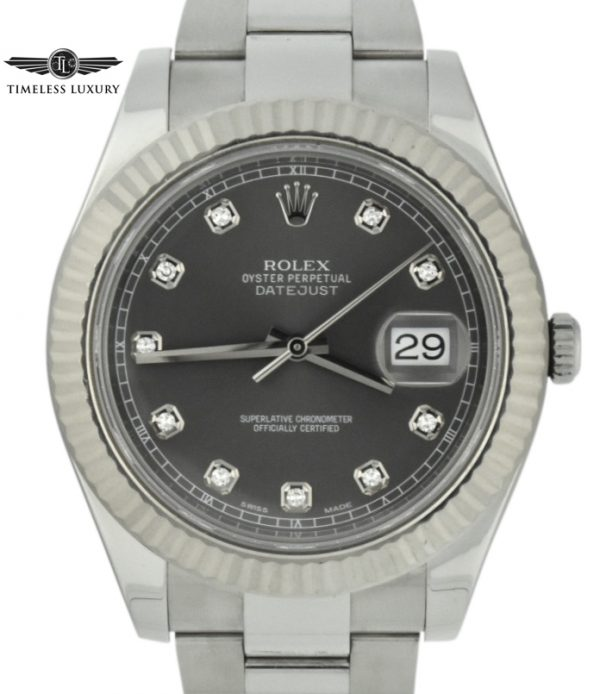 Rolex datejust II 41mm 116334 Rhodium diamond dial