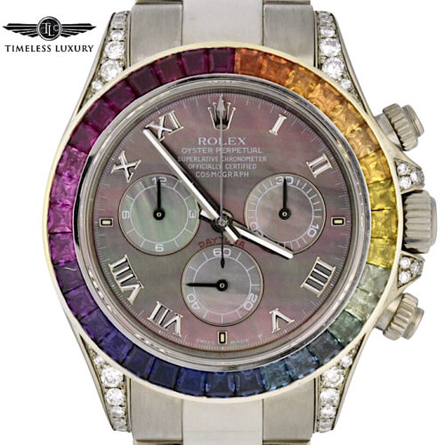 Rolex Daytona 116509 Rainbow Bezel 18k White Gold watch