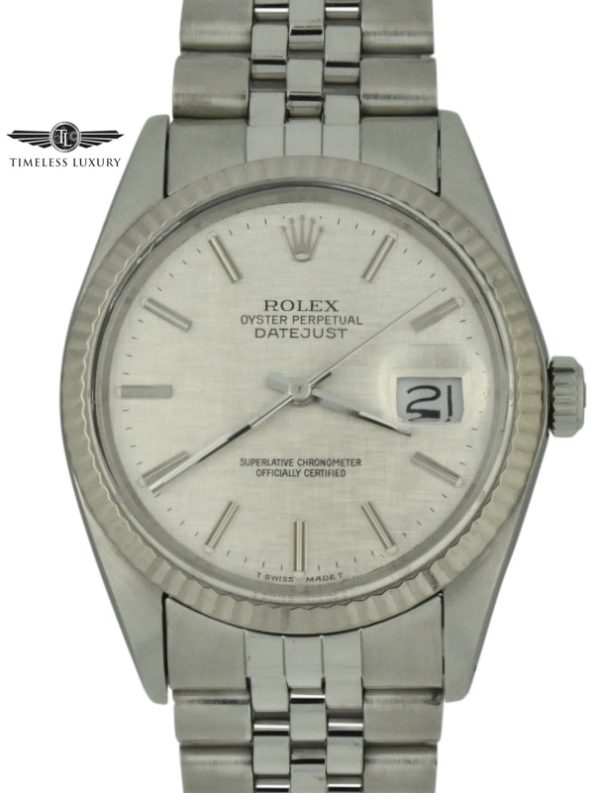 1985 rolex datejust 16014 silver dial