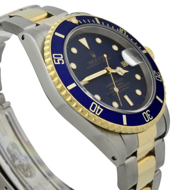rolex 16613 blue bezel watch