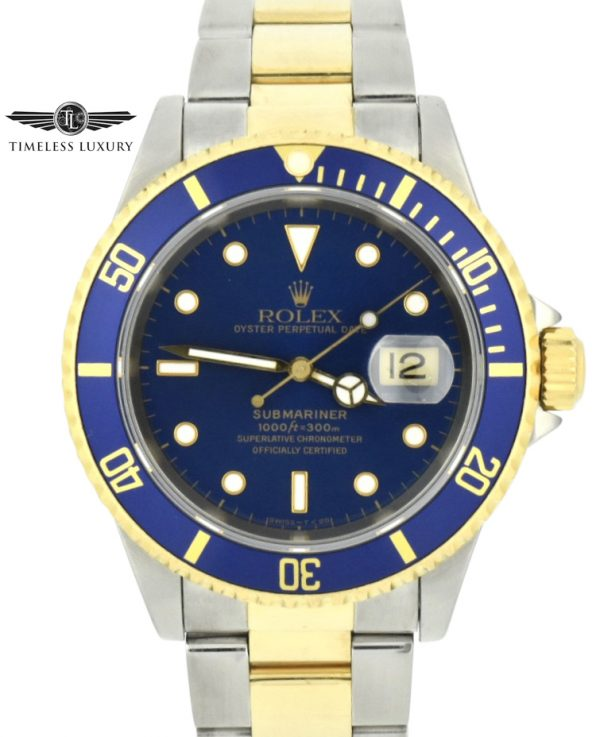1995 Rolex submariner 16613 steel & gold blue dial