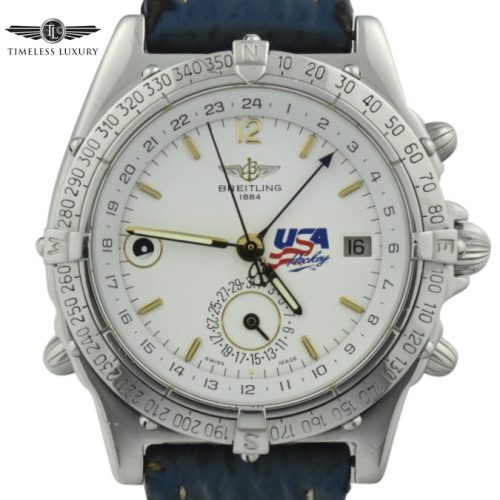 Men's Breitling Duograph 1994 US Olympic hockey team watch