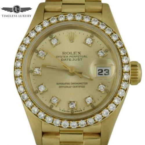 1989 ladies rolex president 69178 diamond bezel