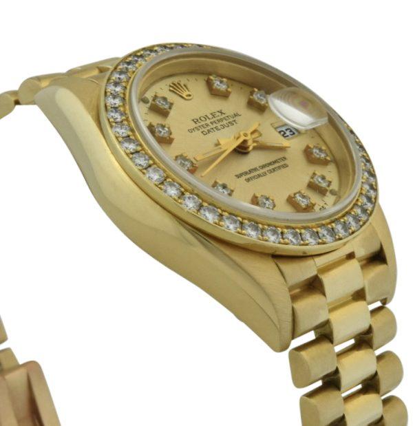 ladies rolex president diamond bezel