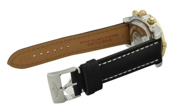 breitling black leather strap
