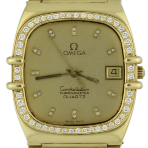 OMEGA constellation quartz 18k gold diamond bezek 498.0019
