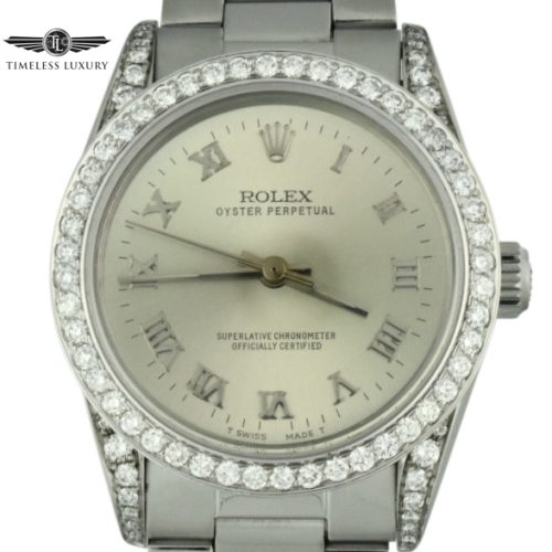 ladies rolex midsize 67480 diamond watch 31mm