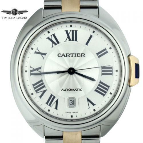 men's cartier cle w2cl0002 40mm steel & rose gold