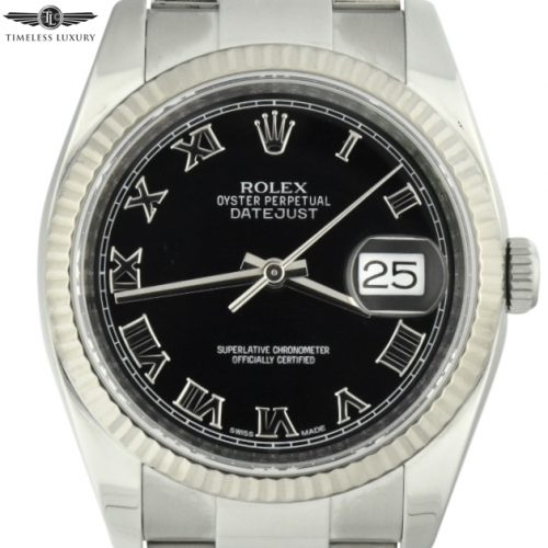 rolex datejust 36mm 116234 black roman dial