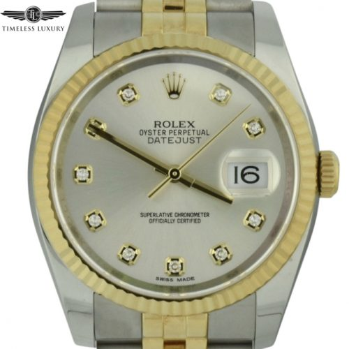 Men's Rolex Datejust 116233 silver diamond dial watch