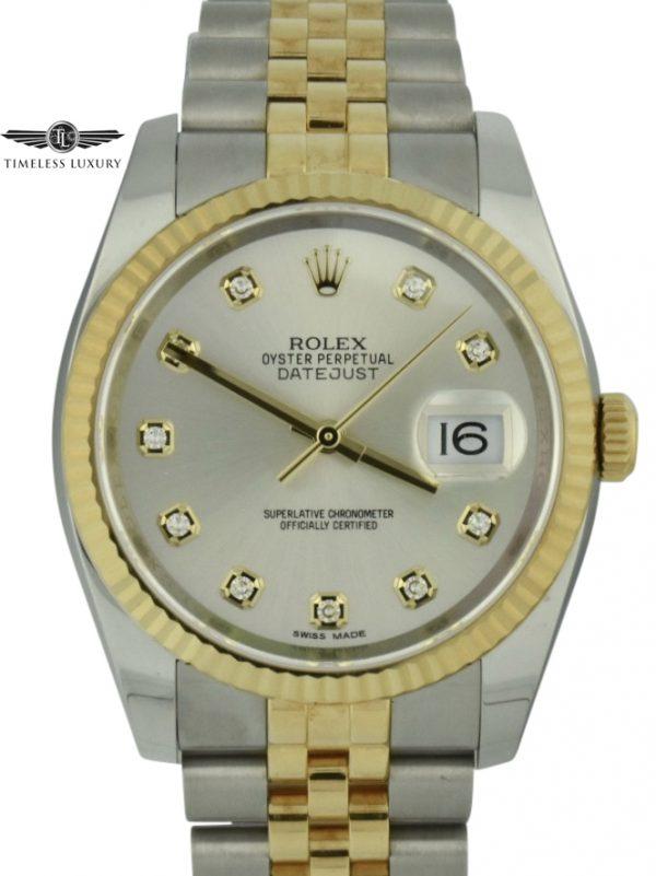 Men's Rolex Datejust 116233 silver diamond dial watch