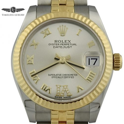 Ladies rolex datejust 178273 diamond IV numeral 31mm