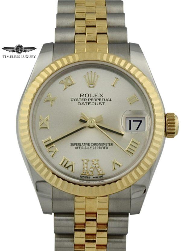 Ladies rolex datejust 178273 diamond IV numeral 31mm