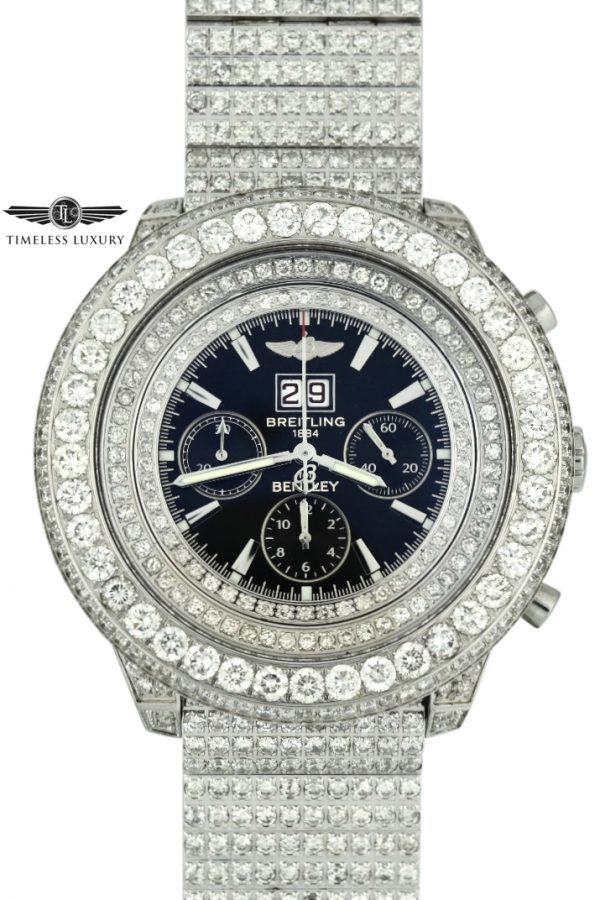 Breitling Bentley Custom Diamond Watch For Sale