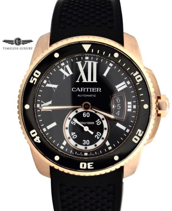 Men's Cartier Calibre Diver W7100052 ROSE GOLD FOR SALE